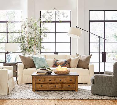 York Deep Square Arm Slipcovered Sofa