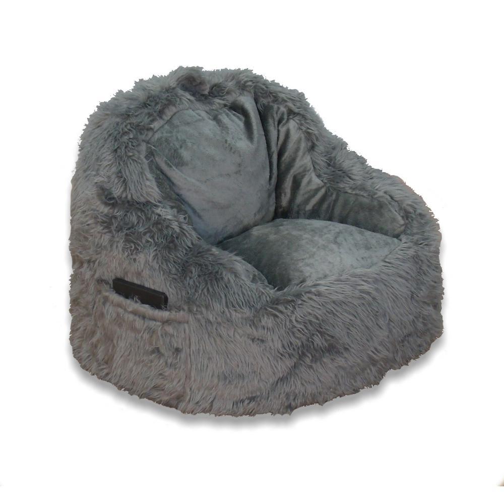 Grey Fur Structured Bean Bag