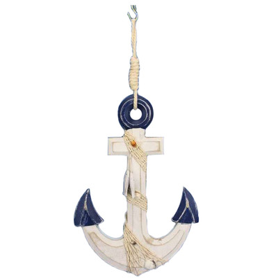 Anwen Rustic Anchor with Hook Rope and Shells Sculpture
