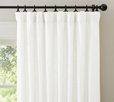 "Emery Linen Poletop Drape, 50 x 84"", White"