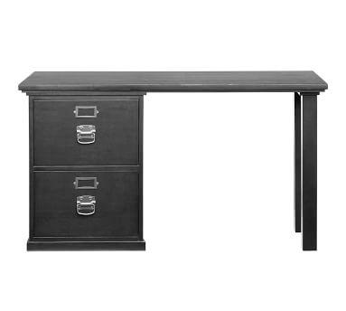 Bedford Small Desk Set, 1 Desktop & 1 2-Drawer File Pedestal, Antique White