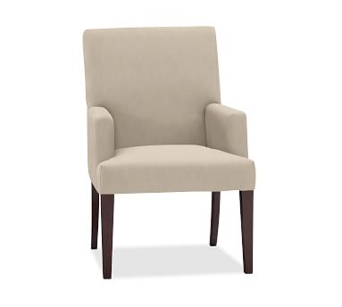 PB Comfort Square Upholstered Dining Side Chair, Twill Cadet Navy