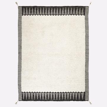 Ikat Border Shag Rug, Ivory, 8'x10'