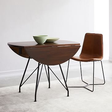 "Jules Drop Leaf Dining Table 42"", Walnut, Antique Bronze"