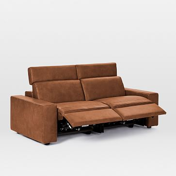 """Enzo Sectional Set 25: Power Sofa (8"""" Arm + 30"""" Single With Power + 30"""" Single With Power + 8"""" Arm), Poly, Leather, Old Saddle, Concealed Supports"""