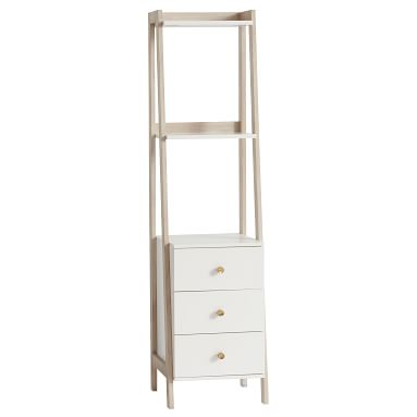 Highland Narrow Bookcase with Drawers, Water-Based Simply White/ Weathered White