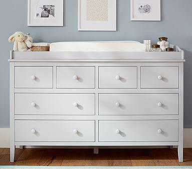 Emerson Extra Wide Nursery Dresser & Topper Set, Simply White