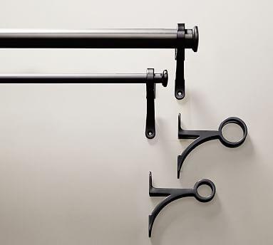 "PB Standard Drape Rod & Wall Bracket, .75"" diam., Small, Antique Bronze Finish"