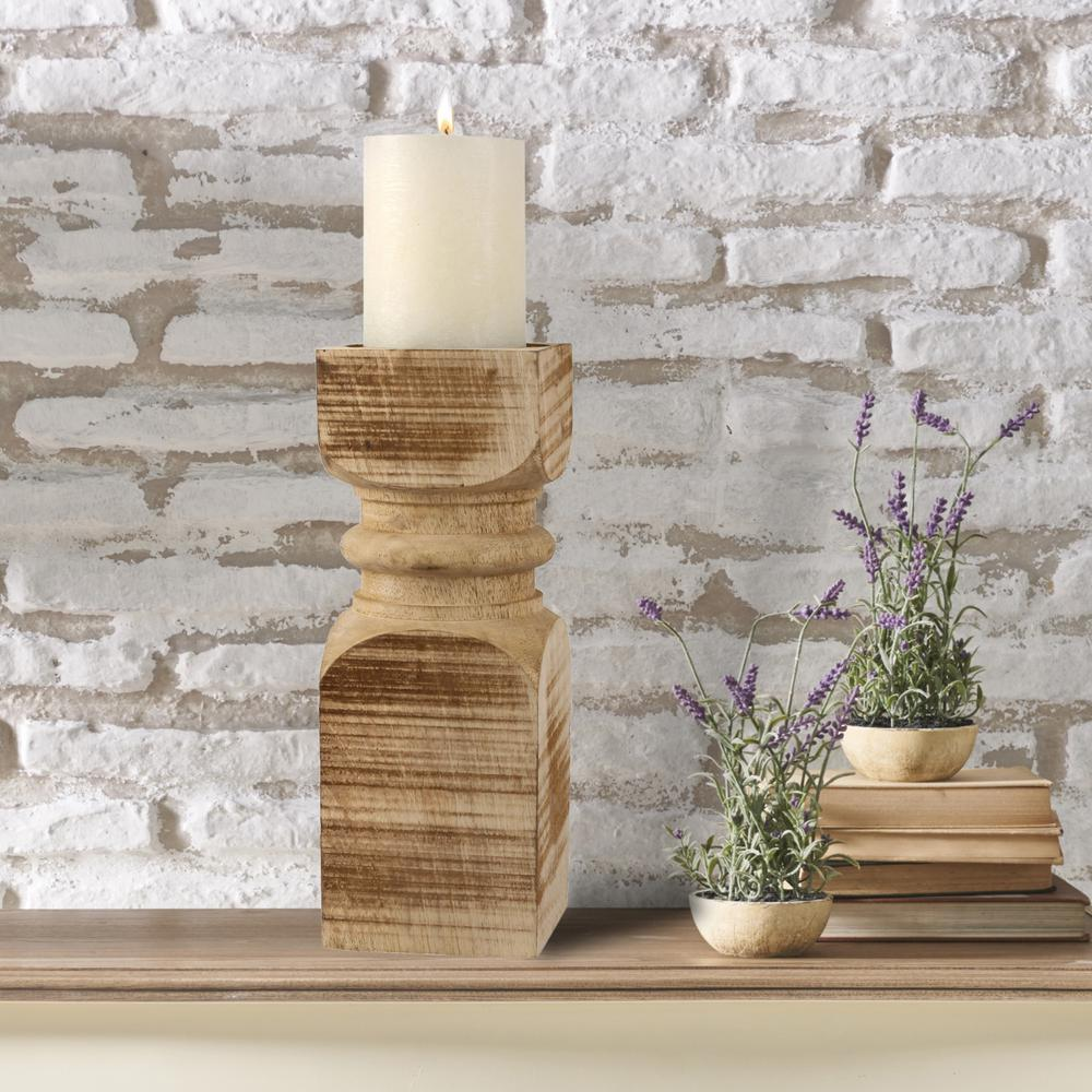 14 in. Brown Wood Pillar Candle Holder, Brown/Tan