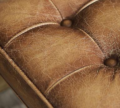 Kirkham Tufted Leather Stool, Nubuck Fawn