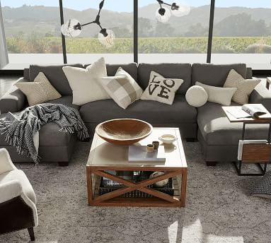 Big Sur Square Arm Upholstered Left Arm Sofa with Double Chaise Sectional with Bench Cushion, Down Blend Wrapped Cushions, Basketweave Slub Ash