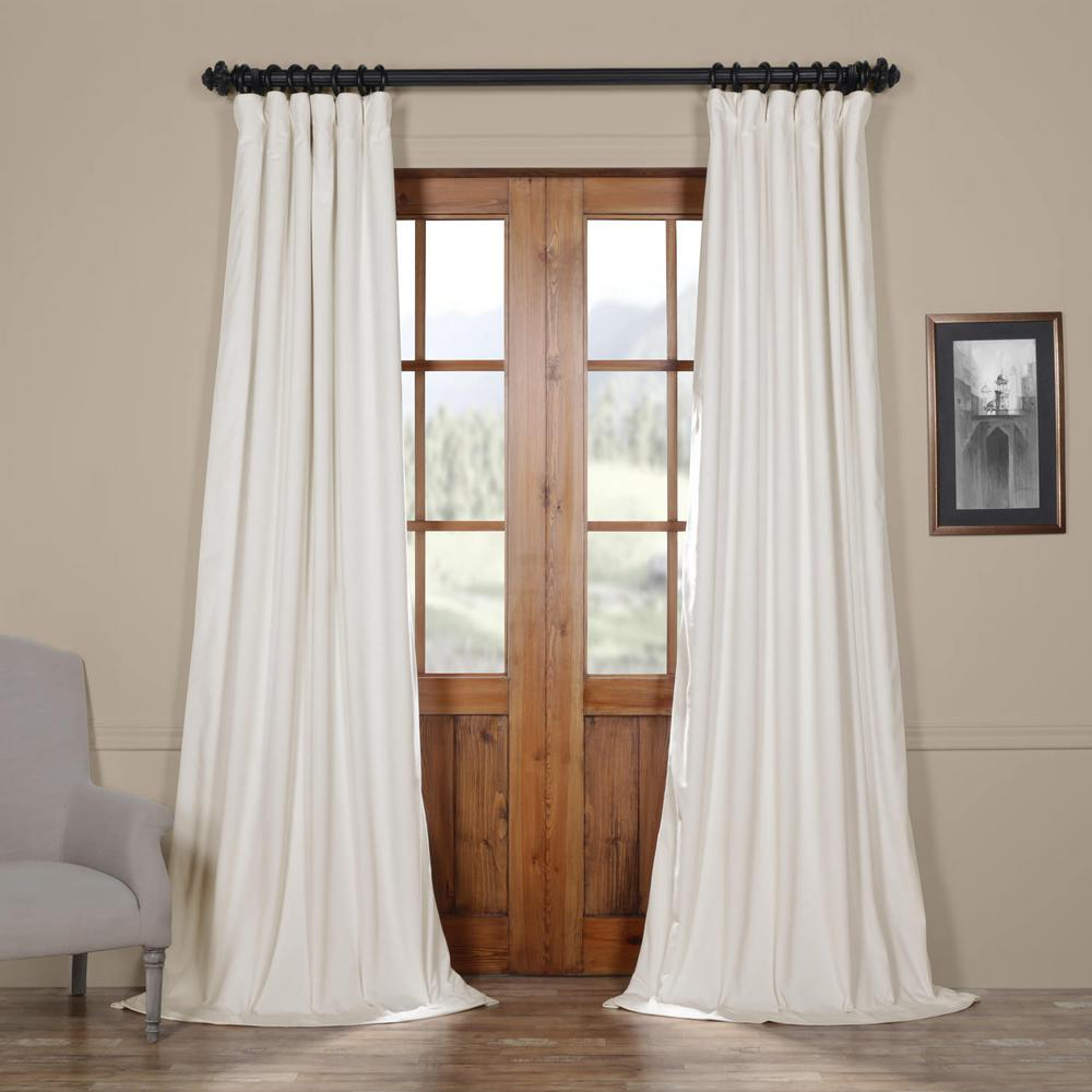 Exclusive Fabrics & Furnishings Blackout Signature Off White Blackout Velvet Curtain - 50 in. W x 84 in. L (1 Panel)