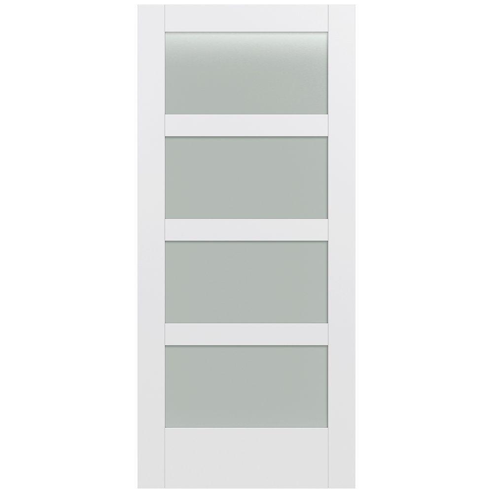 JELD-WEN 36 in. x 80 in. Moda Primed PMT1044 Solid Core Wood Interior Door Slab w/Translucent Glass