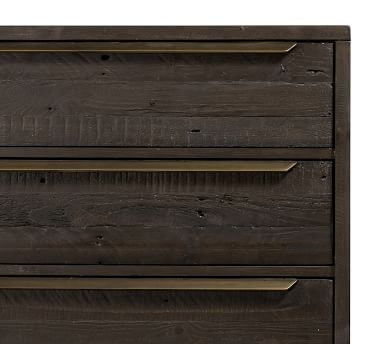 Braden Reclaimed Wood Extra Wide Dresser, Dark Carbon/Antique Brass