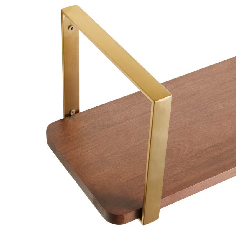 """Riggs 36"""" Walnut Shelf with Brass Dot Brackets"""