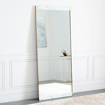 Marble + Brass Floor Mirror