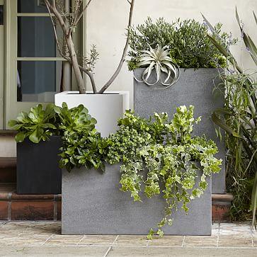 """Cityscape Planter, Square Planter (16""""h), Ficonstone, Gray"""
