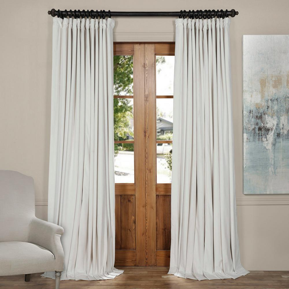 Exclusive Fabrics & Furnishings Blackout 100 in. W x 120 in. L Signature Off White Ivory Doublewide Blackout Velvet Curtain (1 Panel)