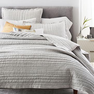 Belgian Flax Linen Linework Quilt, King/Cal. King, Frost Gray