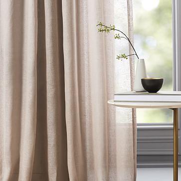 """Belgian Flax Linen Sheer Curtain, Dusty Blush, 48""""x84"""""""