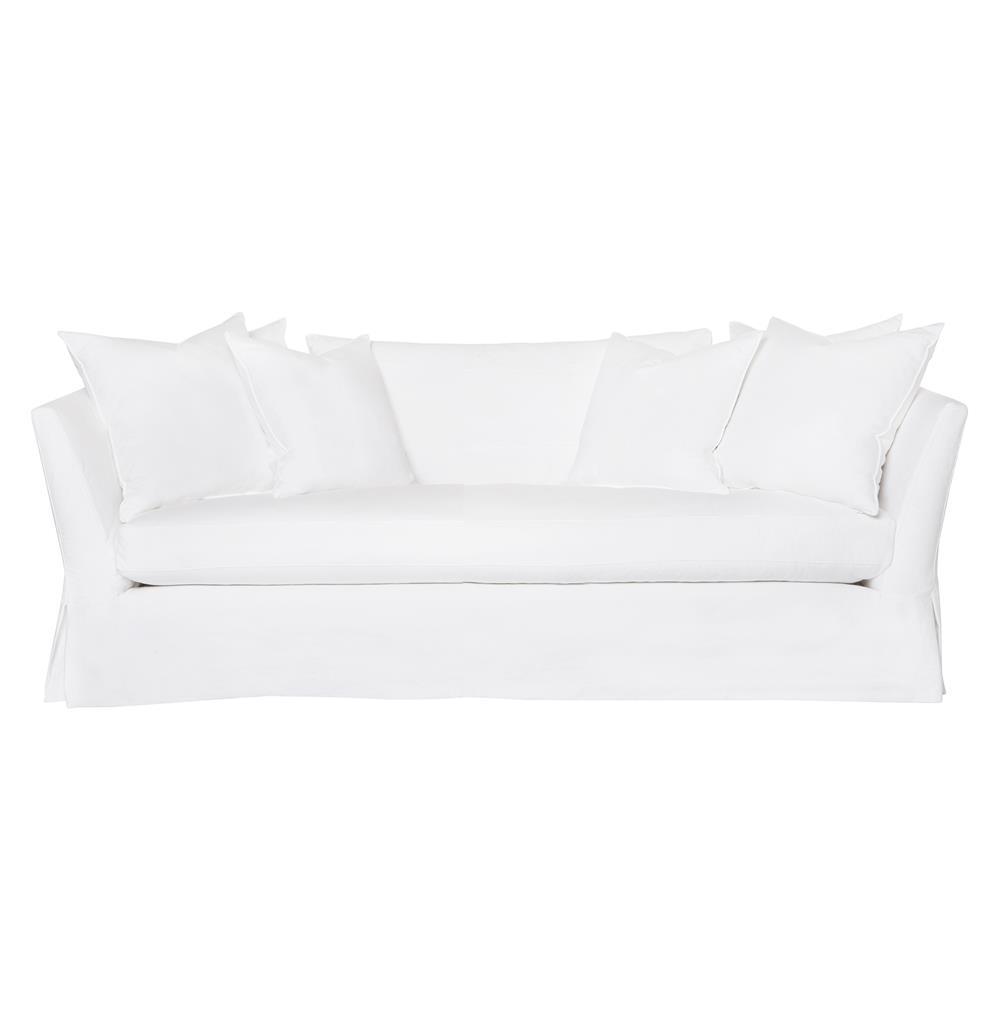 Cisco Brothers Seda Denim White Cotton Coastal Style Feather Down Slip Cover Sofa - 84