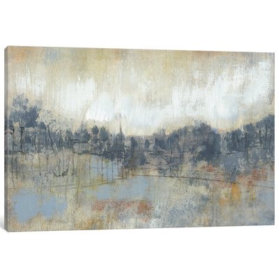 'Cool Grey Horizon I' Painting Print on Canvas