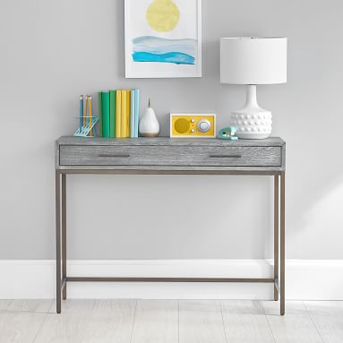 Blaire Classic Desk + 2 Drawer Pedestals + 2 Gold Bases, Lacquered Simply White