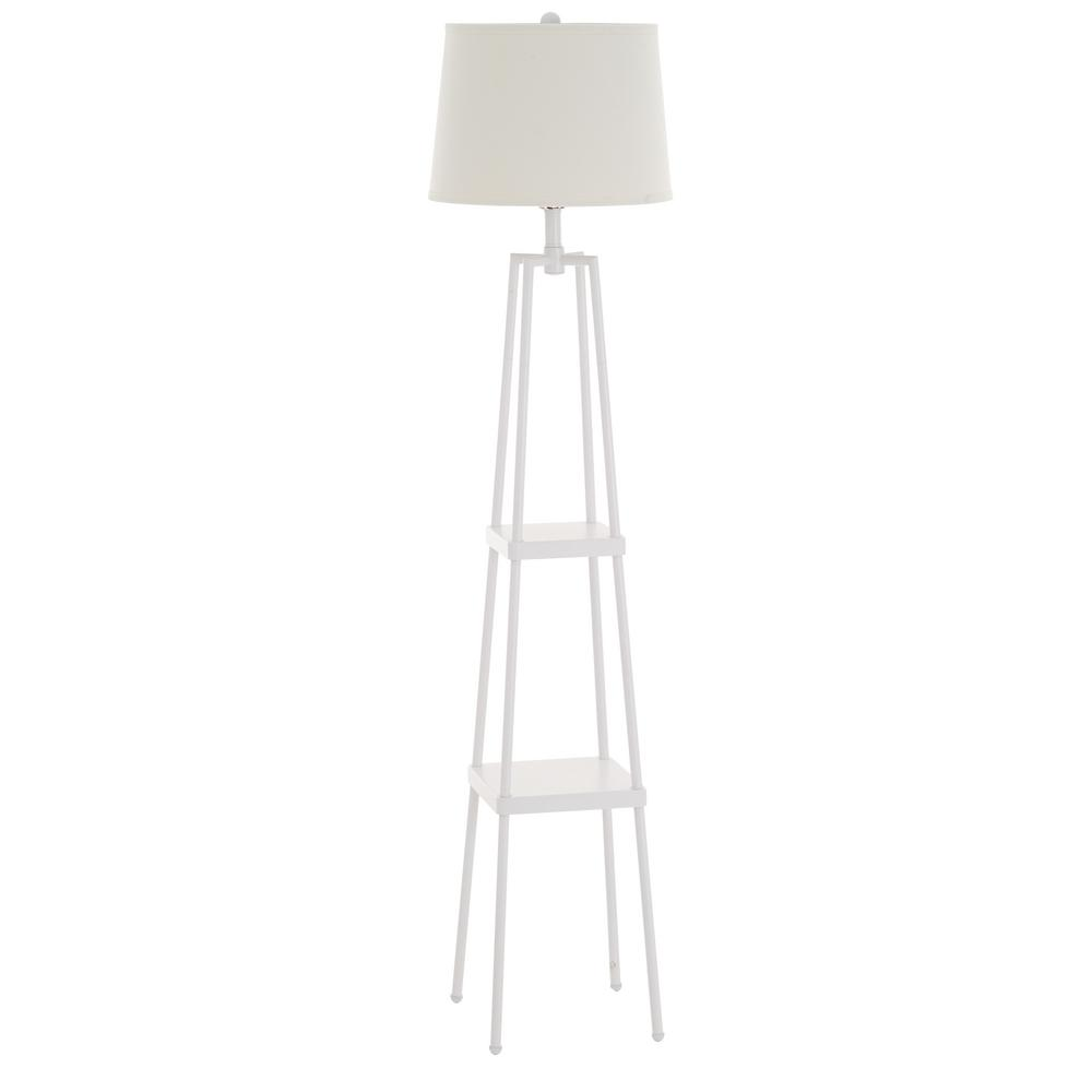 Catalina Lighting 58 in. White Etagere Floor Lamp with Linen Shade