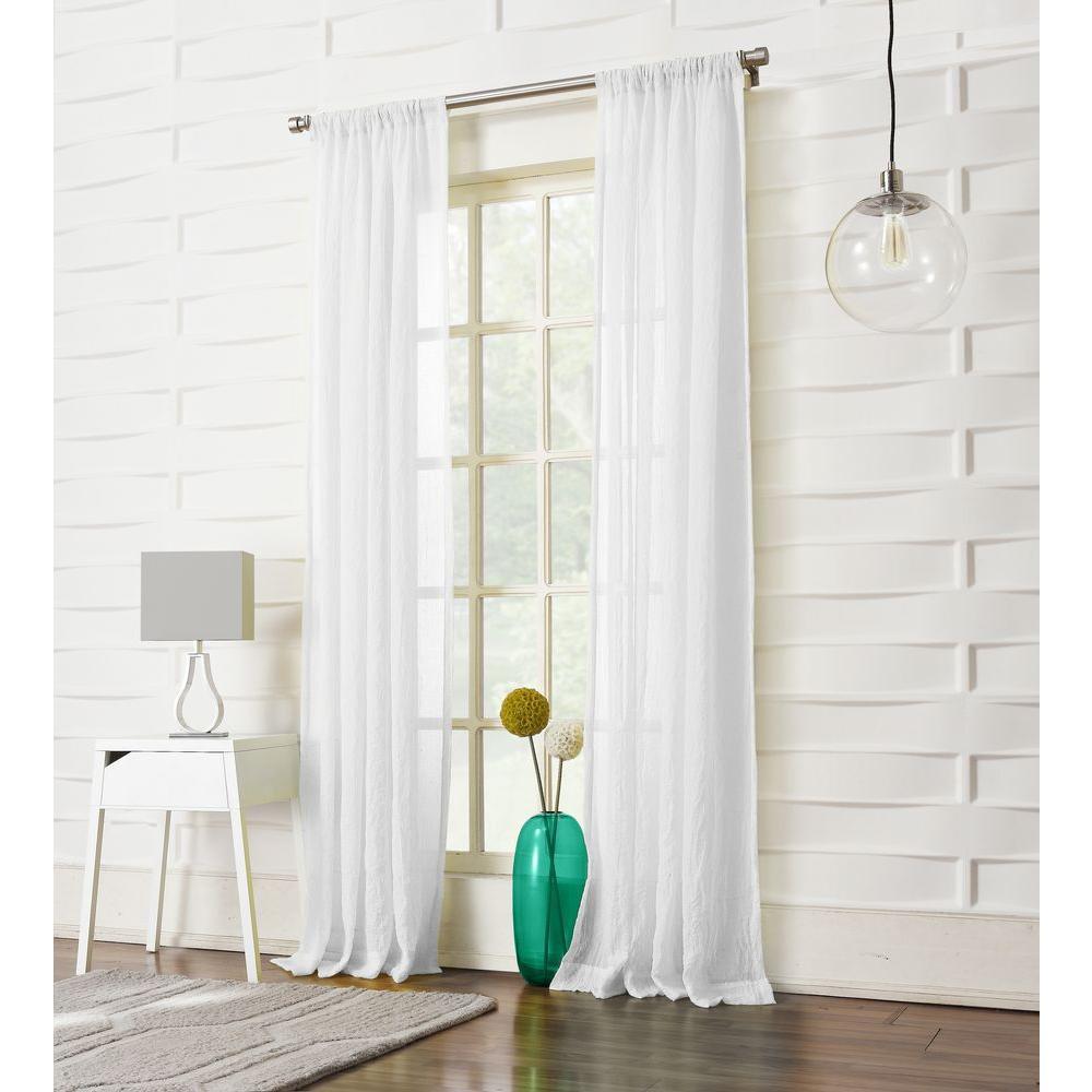 LICHTENBERG Sheer White No. 918 Millennial Laguna Sheer Rod Pocket Curtain Panel, 50 in. W x 95 in. L