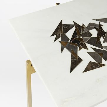 Graphic Marble Inlay Triangles Side Table, White Marble
