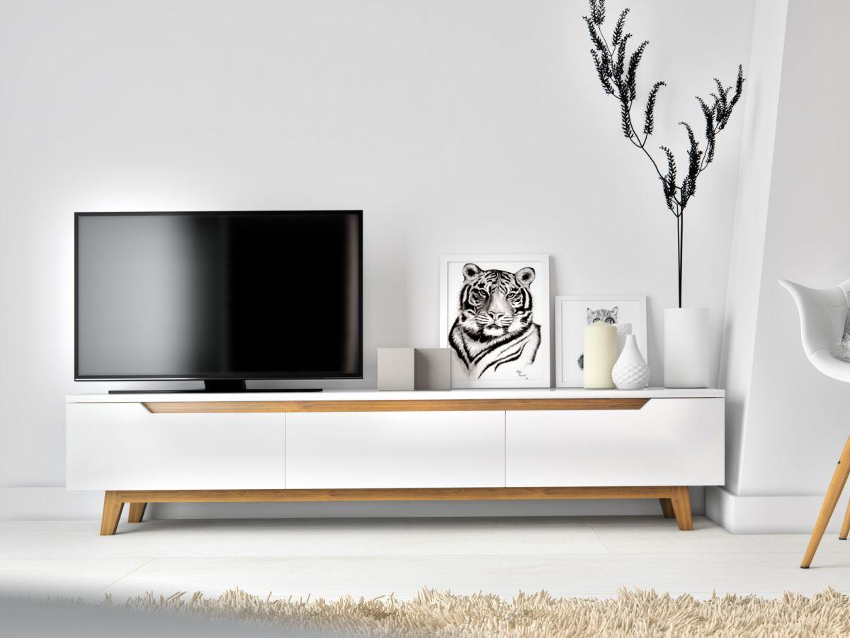 Mikkel Tv Stand - Elm Veneer White