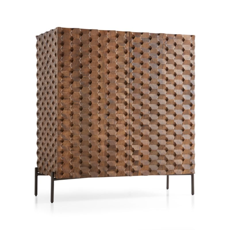 Raffael Carved Wood Bar Cabinet