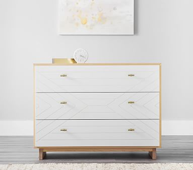 Cora Carved Nursery Dresser & Topper Set, Natural/Simply White, Flat Rate