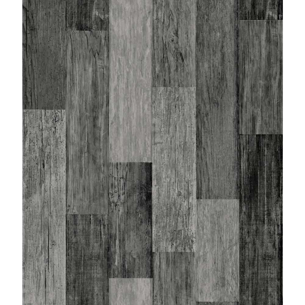 RoomMates 28.18 sq. ft. Weathered Wood Plank Black Peel ...