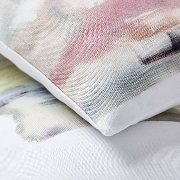"""Layered Brushstrokes Pillow Cover, Olive, 12""""x21"""""""