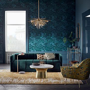 "Cloud Motif Wallpaper, Blue,  26""w x 11'h"