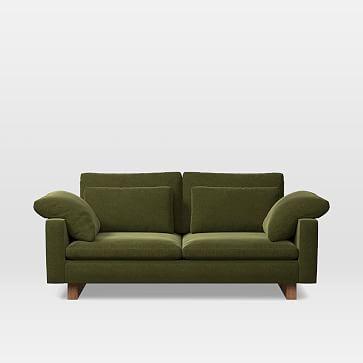 Harmony Extra Deep Depth Apartment Sofa, Distressed Velvet, Olive, Walnut