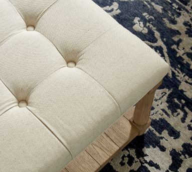 Berlin Upholstered Square Ottoman, Brushed Crossweave Navy