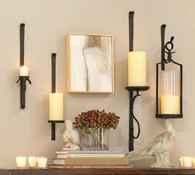 Artisanal Circular Wall-Mount Candle Sconce, Iron - Set Of 2