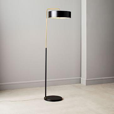 Library Floor Lamp, Dark Bronze, Antique Brass