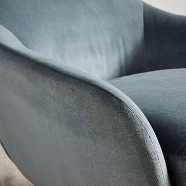 Valentina Swivel Chair, Astor Velvet, Steel Blue, Light Bronze