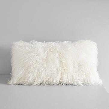 "Mongolian Lamb Pillow Cover, Stone White, Lumbar, 12""x21"""