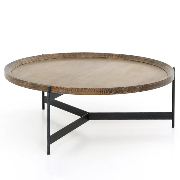 Sebastian Modern Classic Iron Round Burnt Oak Tray Style Coffee Table