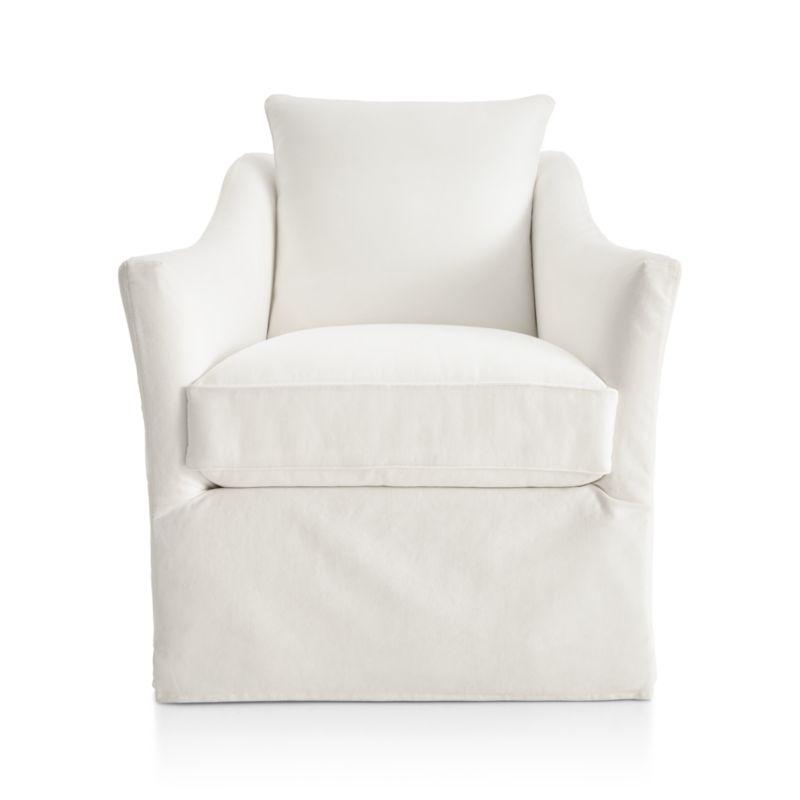 Keely Slipcovered Swivel Chair