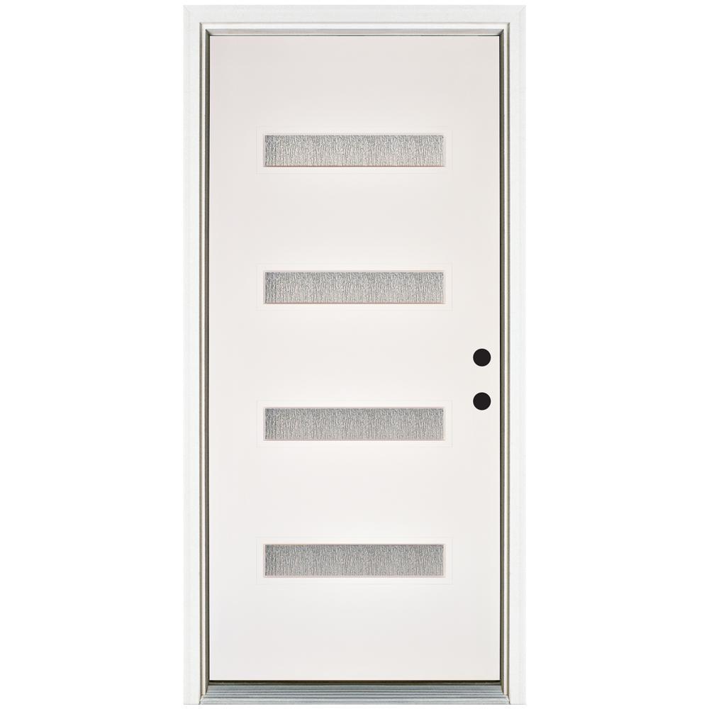 MP Doors 36 in. x 80 in. Water Wave Smooth White Left-Hand Inswing 4 Lite Rain Fiberglass Prehung Front Door