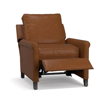 Tyler Roll Arm Leather Recliner without Nailheads, Down Blend Wrapped Cushions, Vintage Caramel