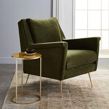 Carlo Mid-Century Chair, Poly, Distressed Velvet, Rust, Brass