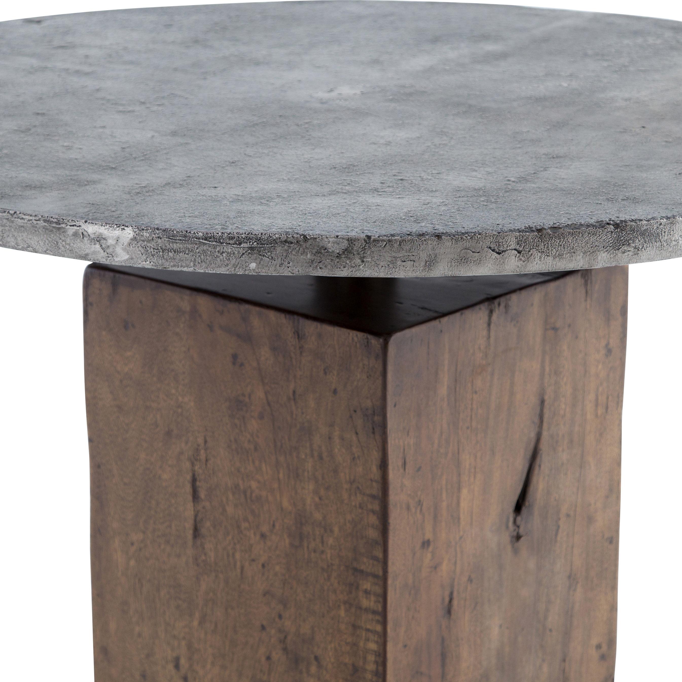 Levitan Industrial Lodge Weathered Wood Metal Round Bistro Table