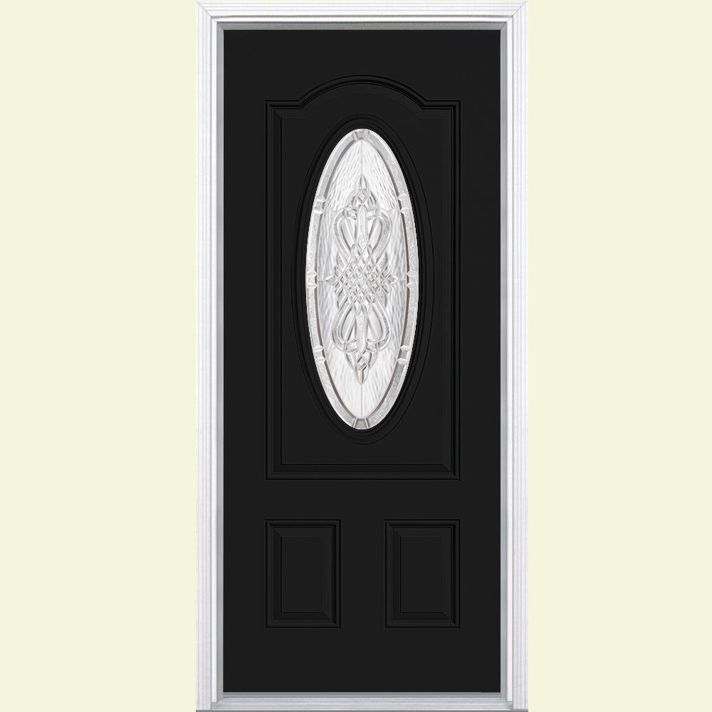 Masonite 36 in. x 80 in. New Haven 3/4 Oval Right-Hand Inswing Painted Smooth Fiberglass Prehung Front Door w/ Brickmold, Jet Black