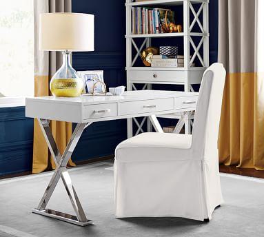 Ava Writing Desk, White/Polished Nickel finish